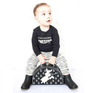 koffertje halfrond kinderkoffertje zwartwit hiphuisje