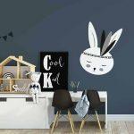 muursticker konijntje wit zwart kinderkamer 3