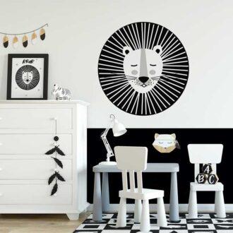 muursticker leeuw zwart wit grijs