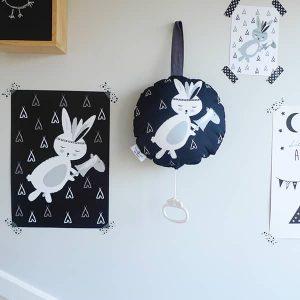 muziekdoosje konijntje zwart wit 1