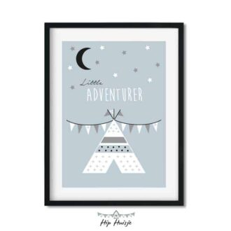 poster blauw tipi decoratie kinderkamer babykamer zwartwit accessoires 1