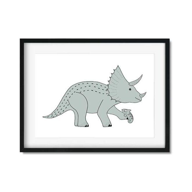 poster dino triceratops groen kinderposter hiphuisje 2