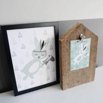 poster kaart kinderkamer groen hip huisje