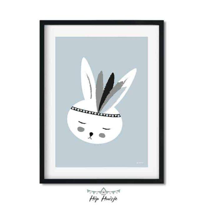 poster konijntje lichtblauw kinderkamer hiphuisje 2