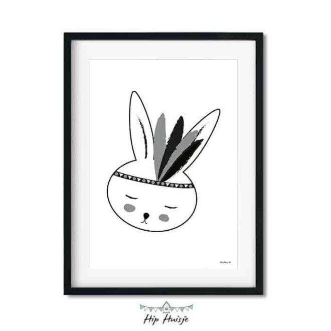 poster konijntje wit zwart kinderkamer hiphuisje 2