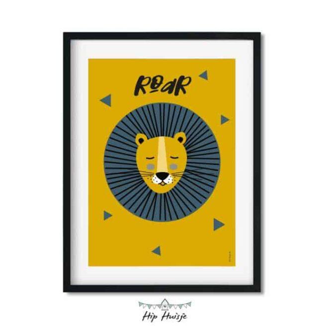 poster leeuw okergeel blauw kinderkamer jungle hiphuisje 2