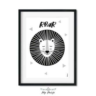 poster leeuw zwart wit monochrome kinderkamer jungle hiphuisje 2