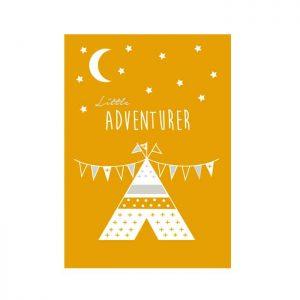 poster little adventurer okergeel geel kinderkamer babykamer tipi muurdecoratie kinderkameraccessoires