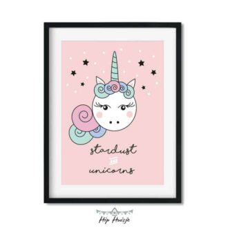 poster roze meisjeskamer eenhoorn kinderkamer accessoires