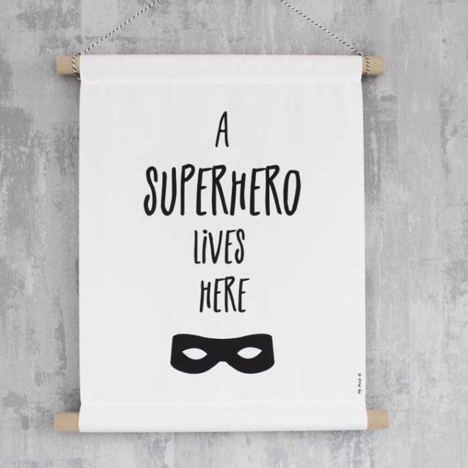 poster superhero zwartwit banner textielposter kinderkamer kleuter hiphuisje 3