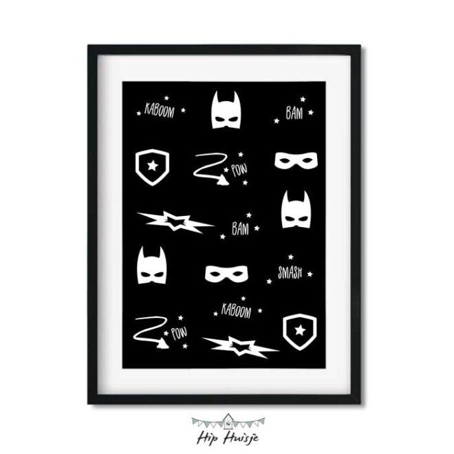 poster superhero zwartwit kinderkamer jongenskamer accessoires 3