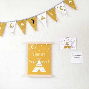 poster vlaggenlijn kaart kinderkamerdecoratie okergeel hiphuisje