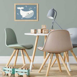 sfeer kinderkamer poster aandemuur walvis water blauw hiphuisje
