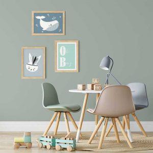 sfeer kinderkamer posters blauw groen walvis hiphuisje