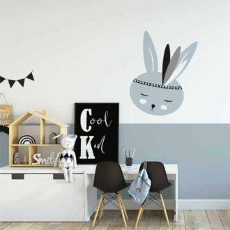 sfeer muursticker lichtblauw konijntje kinderkamer sticker hiphuisje 3