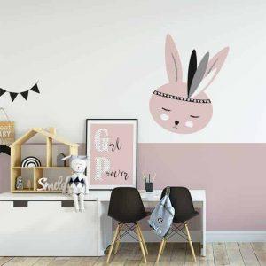 sfeer muursticker roze konijntje kinderkamer sticker hiphuisje 3