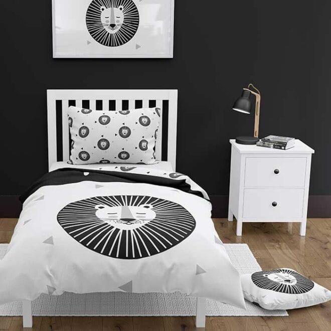 sfeerfoto dekbedovertrek leeuw zwart wit hiphuisje