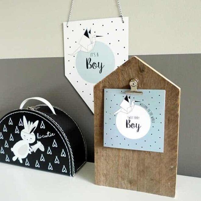 stationary kaartje vaantje baby jongetje babykamer koffertje kinderkoffertjes groothandel hiphuisje