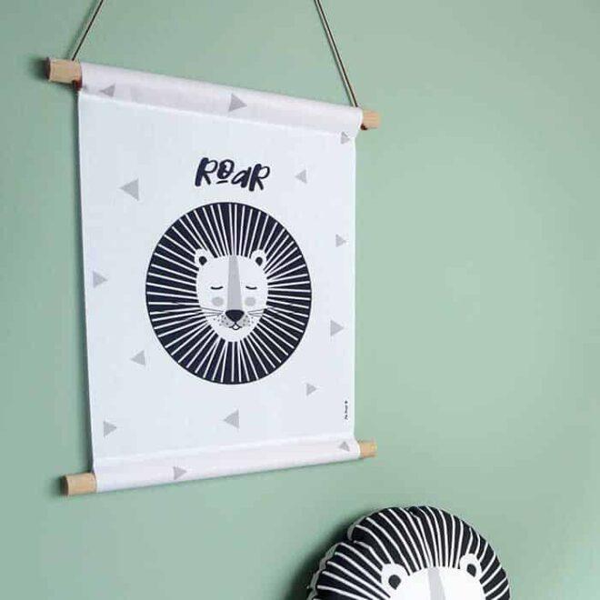 textielposter banner leeuw zwartwit kinderkamer hiphuisje 2