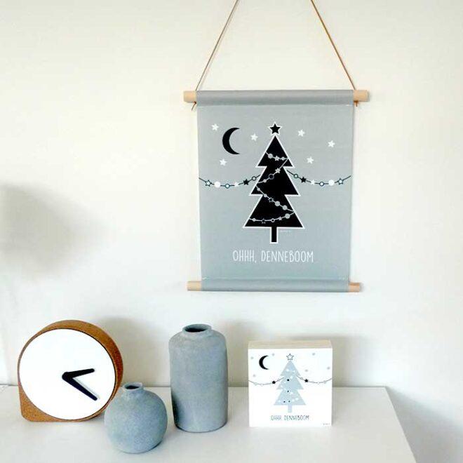 textielposter kerstboom oh denneboom kerst hiphuisje 3