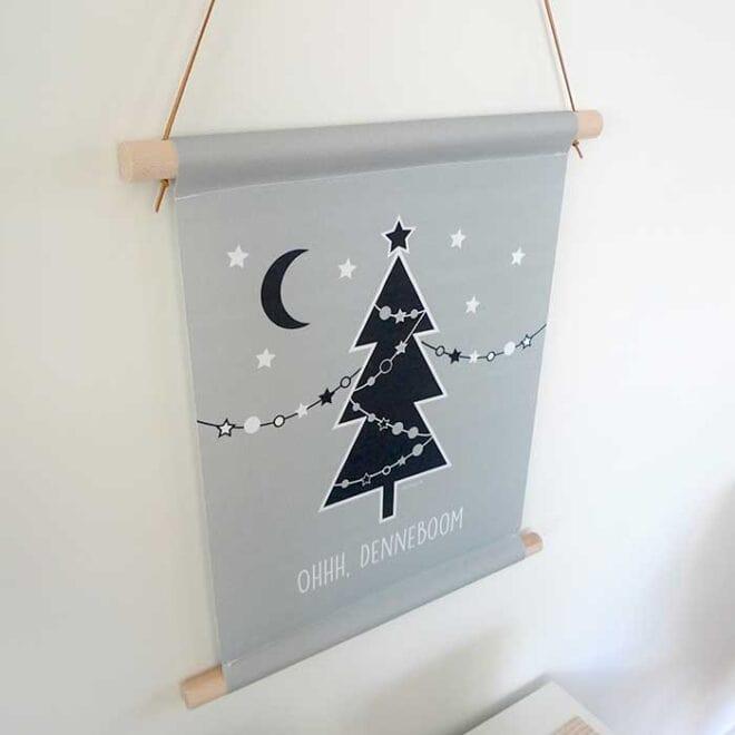 textielposter oh denneboom kerst kerstboom kerstinterieur hiphuisje 1