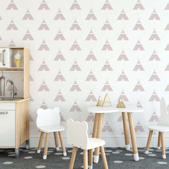 tipi behang roze kinderbehang kinderkamer behang hip HipHuisje 1