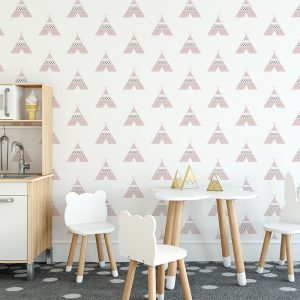 tipi behang roze kinderbehang kinderkamer behang hip hiphuisje