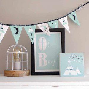 vlaggenlijn decoratie hout poster jongen kinderkamer babykamer hiphuisje