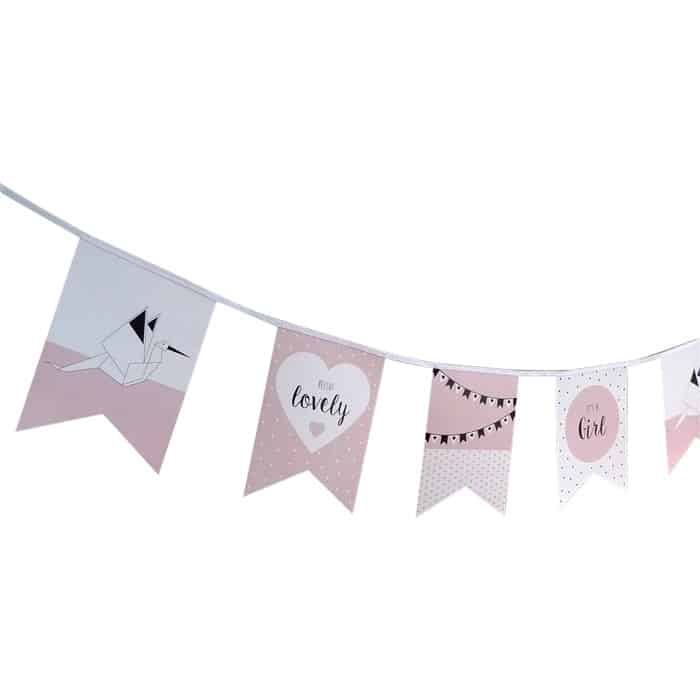 vlaggenlijn geboorte meisje ooievaar geboorteaankondiging hiphuisje 2
