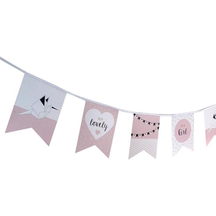 vlaggenlijn geboorte meisje ooievaar geboorteaankondiging hiphuisje