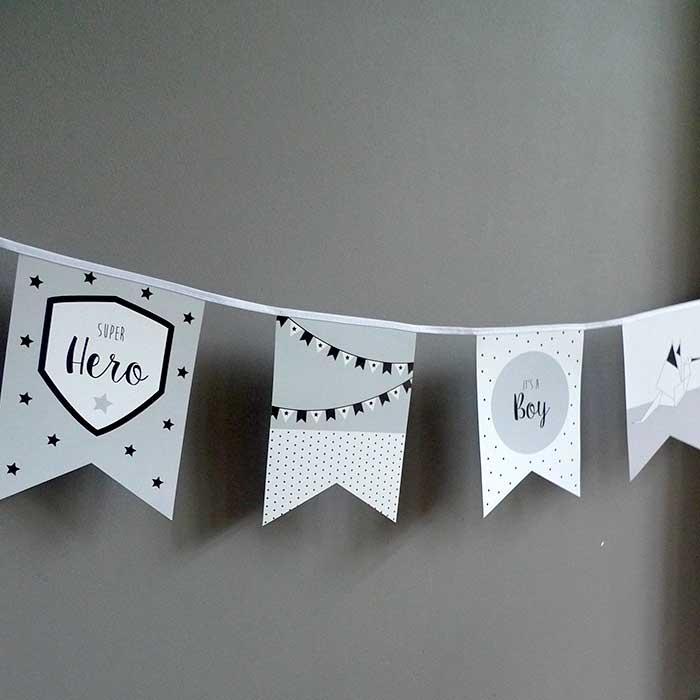 vlaggenlijn jongetje grijs geboorte vlaggetjeslijn geboorteaankondiging kraamfeest hiphuisje