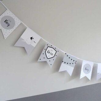 vlaggenlijn vlaggetjes geboorte jongetje blauwgrijs baby hiphuisje