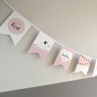 vlaggenlijn vlaggetjes geboorte meisje babygeboren kraamfeest babyshower geboorteaankondiging 3