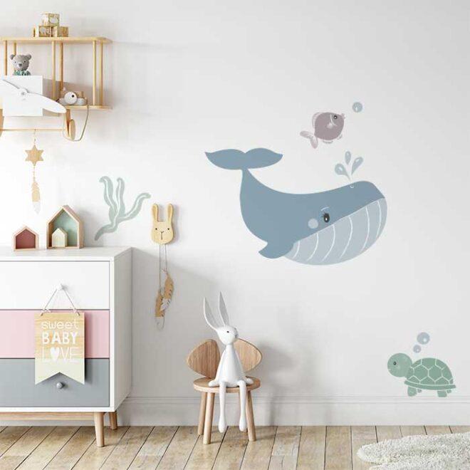 muursticker walvis in de oceaan voor de babykamer kinderkamer kindersticker muurdecoratie kinderkamer hiphuisje