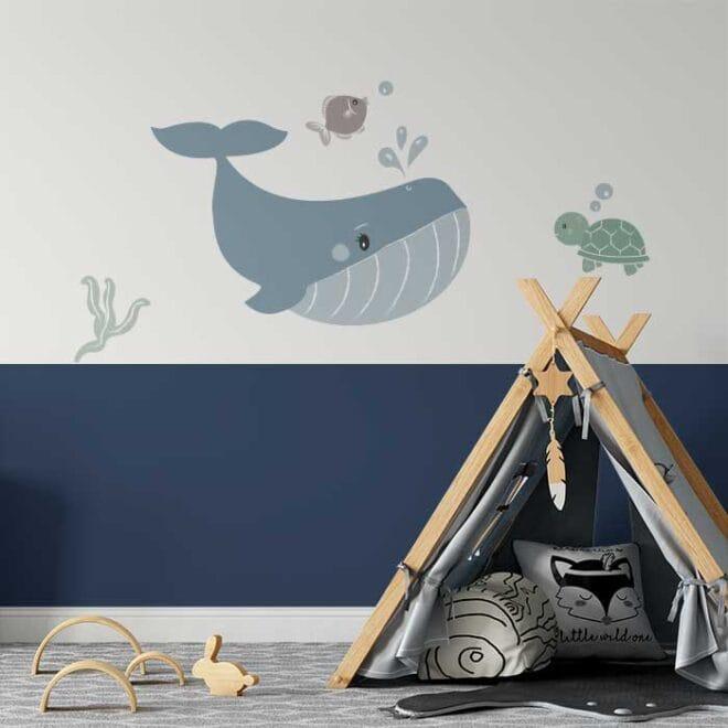walvis muursticker sfeer kinderkamer babykamer muurstickers hiphuisje