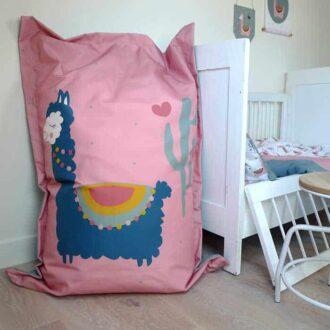 zitzak lama roze groen kinderkamerdecoratie hiphuisje 2