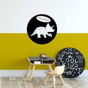 dino muursticker triceratops zwart