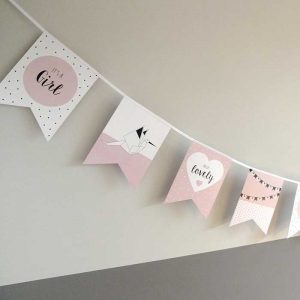 vlaggenlijn vlaggetjes geboorte meisje babygeboren kraamfeest babyshower geboorteaankondiging