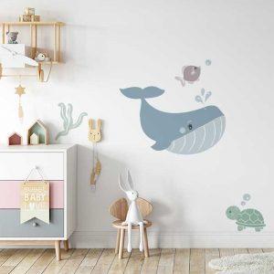 walvis muursticker babykamer kinderkamer kindersticker muurdecoratie kinderkamer hiphuisje