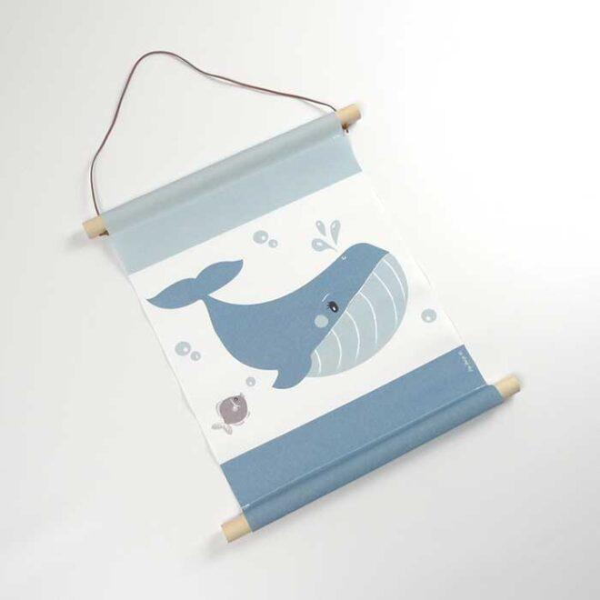 1 textielposter walvis A3 poster kinderkamer hiphuisje