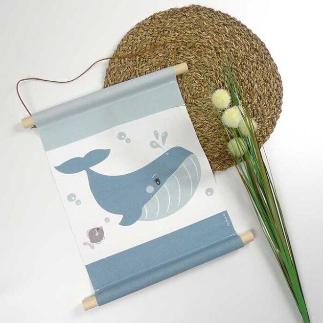 textielposter walvis babykamer decoratie hiphuisje