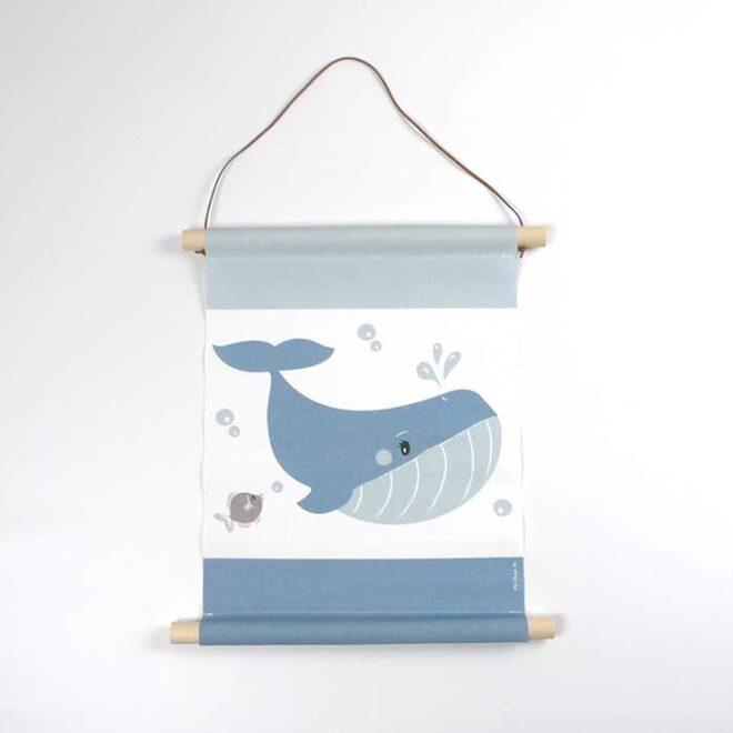 textielposter walvis kinderkamer accessoires poster hiphuisje