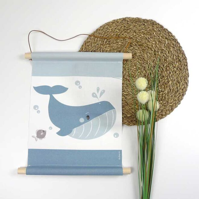textielpposter walvis blauw kinderkamer hiphuisje