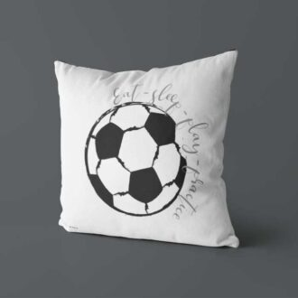 voetbal kussen zwart wit achterzijde voetbal kinderkamer