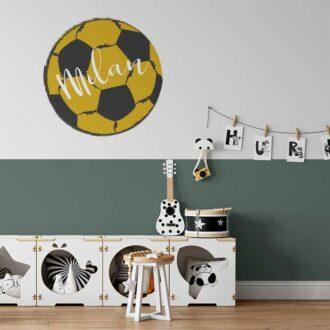 Voetbal muursticker okergeel voetbalkamer kinderkamer
