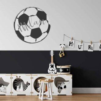Voetbal muursticker zwart wit kinderkamer