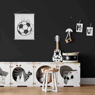 Voetbal textielposter zwart wit voetbalkamer kinderkamer