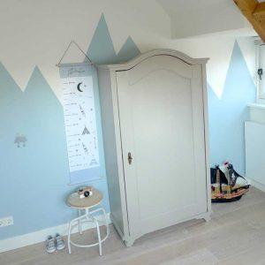 groeimeter blauw tipi babykamer peuterkamer hiphuisje