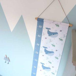 groeimeter walvis blauw kinderkamer styling meetlat hiphuisje