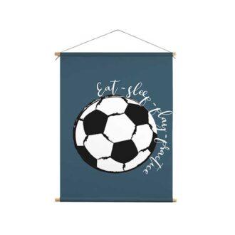textielposter voetbal blauw kinderkamer